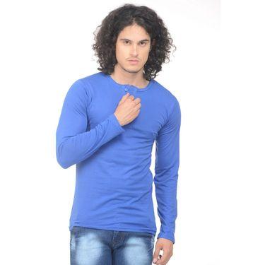 Plain Comfort Fit Blended Cotton TShirt_Htvrb - Blue