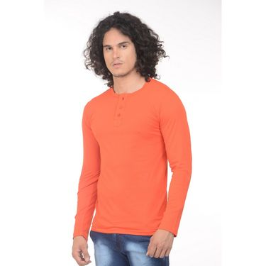 Plain Comfort Fit Blended Cotton TShirt_Htvro - Orange