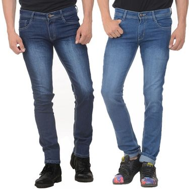 Pack of 2 Plain Slim Fit Jeans_Jnwtx12 - Blue