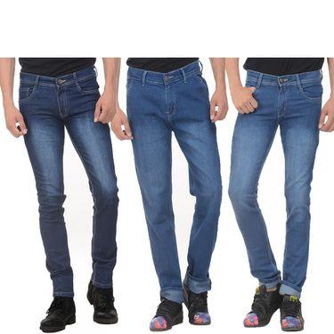 Pack of 3 Plain Slim Fit Jeans_Wtx123 - Blue