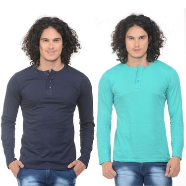 Pack of 2 Plain Regular Fit Tshirts_Htvrdblg - Navy & Sea Green
