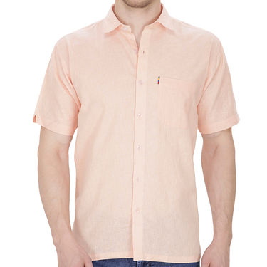 Fizzaro Plain Half Sleeves Stylish Shirt For Men_Fzls111 - Beige