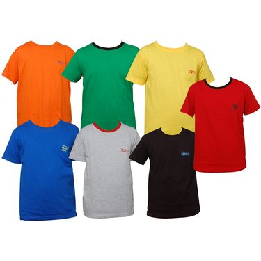 Pack of 7 Little Star Printed Boy's Round Neck Multicolor T-Shirt
