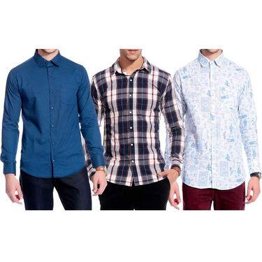 Pack of 3 Good Karma Cotton Premium Designer Shirts_Gkc002 - Mulitcolor