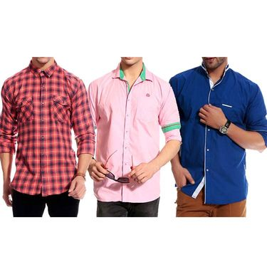 Pack of 3 Good Karma Cotton Premium Designer Shirts_Gkc004 - Mulitcolor