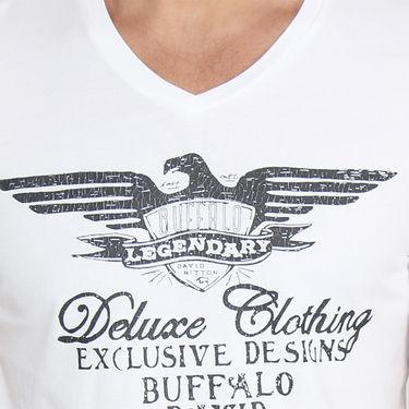 Buffalo Half Sleeves Printed Cotton Tshirt For Men_Bfw - White