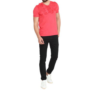 Buffalo Half Sleeves Printed Cotton Tshirt For Men_Bfr - Red