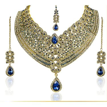 Kriaa Alloy Ethnic Necklace Set With Maang Tikka_2000105 - Blue