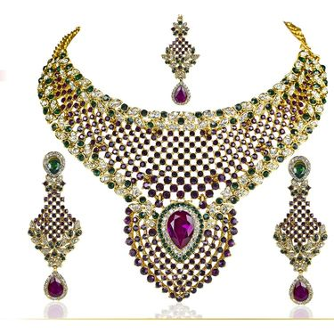 Kriaa Alloy Ethnic Necklace Set With Maang Tikka_2000112 - Multicolor
