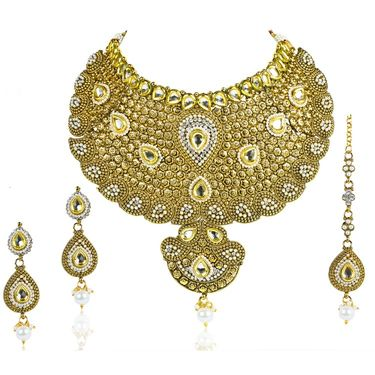 Kriaa Alloy Ethnic Necklace Set With Maang Tikka_2000119 - Golden