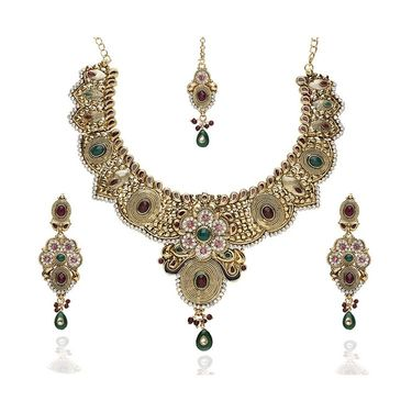 Kriaa Alloy Ethnic Necklace Set With Maang Tikka_2000315 - Multicolor