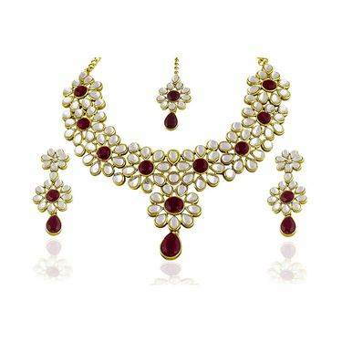 Kriaa Alloy Ethnic Necklace Set_2000310 - Maroon
