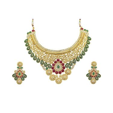 Kriaa Mithya Red & Green Meenakari Gold Pfinish Austrian Stone Necklace Set_2000510