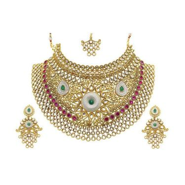 Kriaa Mithya Choker Design Pink Austrian Stone Kundan Pearl Bridal Necklace Set With MaangTikka_2000515