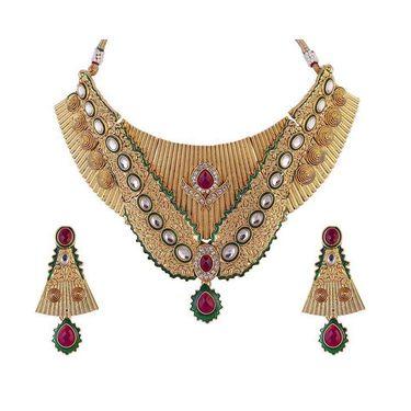 Kriaa Mithya Appealing Design Choker Maroon & Green Meenakari Necklace Set_2000518