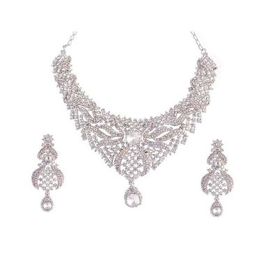 Kriaa Mithya Classy Design Rhodium Finish Silver Stone Necklace Set with Maang Tikka_2000524