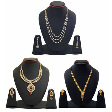 Combo of 3 Manukunj Alloy Necklace Set_Combo165 - Multicolor