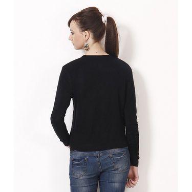 Yellow Tree Plain Acrylic Black Full Sleeves Sweater_Yt09