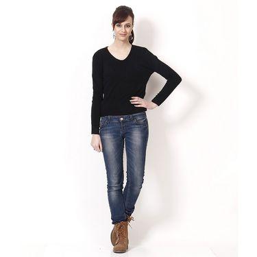 Yellow Tree Plain Acrylic Black Full Sleeves Sweater_Yt10