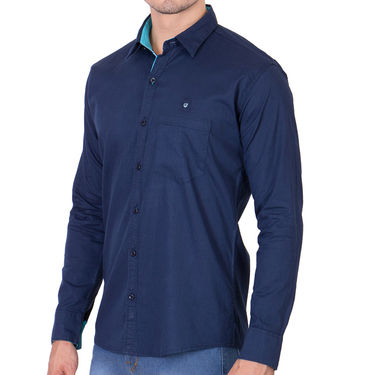 Branded Full Sleeves Cotton Shirt_R218knblu - Blue
