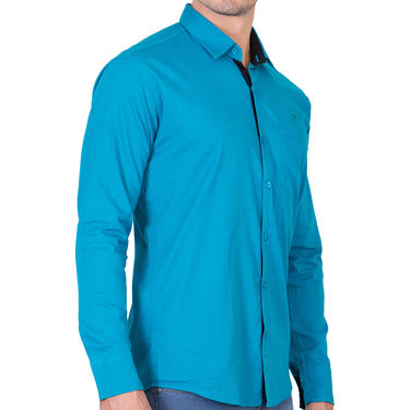 Branded Full Sleeves Cotton Shirt_R218turq - Blue