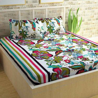 Story@Home 100% Cotton 4 Double Bedsheet with 8 Pillow Covers Dynamic Designs Multi Color _CN_1402-1253-1434-1270