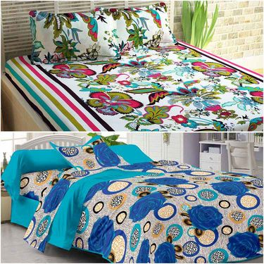 Story@Home 100% Cotton Combo of 3 Double Bedsheet + 3 Single Bedsheet With 9 Pillow Covers _CN_1402-CN1440-CN1434-FY1105-FY1408-SP1210