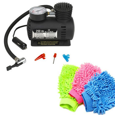 Combo of Branded 12v Electric Car & Bike Tyre Inflator + Cleaning Glove Microfiber