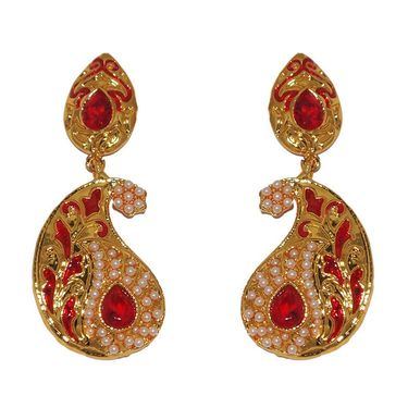 Kriaa Paisley Design Pearl Meenakari  Earrings _1303121