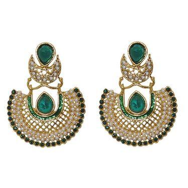 Kriaa Austrian Stone With Pearl Meenakari Chandbali Earrings _1303402