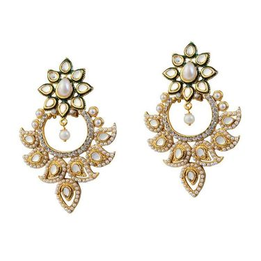 Kriaa Meenakari Kundan Pearl Austrian Stone Earrings _1303759