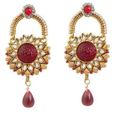 Kriaa Austrian Stone Pearl Kundan Drop Earrings _1303774