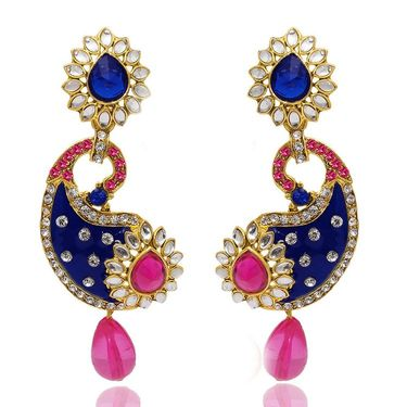 Kriaa Paisley Design Austrian Stone Meenakari Kundan Earrings _1304507