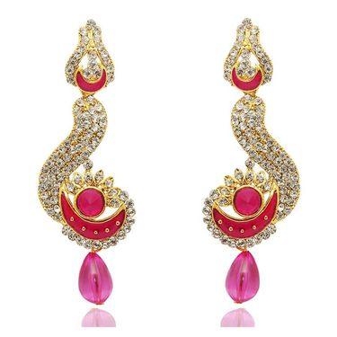 Kriaa Austrian Stone Meenakari Drop Earrings _1304801