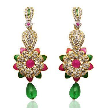 Kriaa Floral Design Austrian Diamond Meenakari Earrings    _1304802