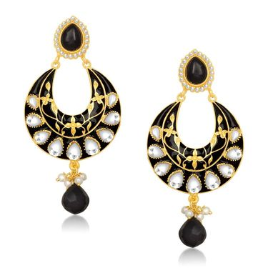 Kriaa Kundan Meenakari Circle Drop Earrings _1305401
