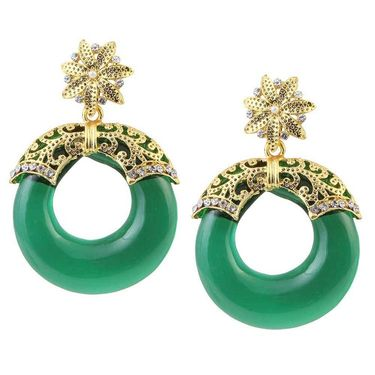Kriaa Austrian Stone Resin Circle Finish  Earrings _1305708