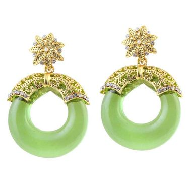 Kriaa Austrian Stone Resin Circle Finish Earrings _1305712