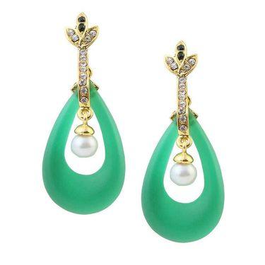 Kriaa Austrian Stone Resin Pearl Drop Finish Earrings _1305719