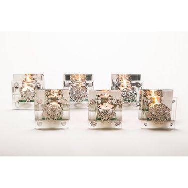 Glass tlite holder set of 6 asstd pcs-1307-1121H