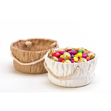Round ceramic basket-  set of 2 white / brown-1307-1160