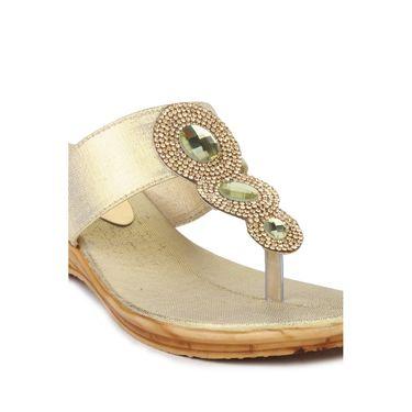 Do Bhai Faux Leather Heels Sandals 152-Golden
