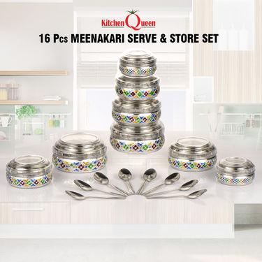 16 Pcs Meenakari Serve & Store Set