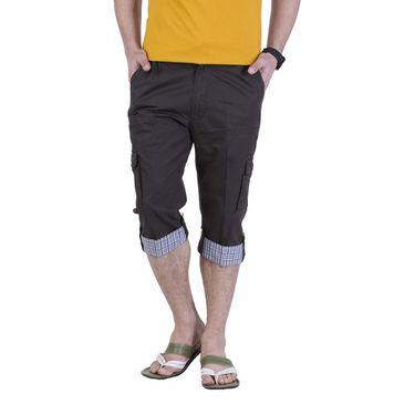 Okane Regular Fit Cotton Capri For Men_cp105 - Dark Coffee