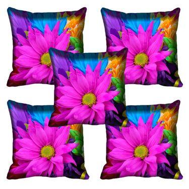 Set of 5 meSleep Digitally Printed Multi-Flower Cushion Cover-16CDMultiFl-166-05