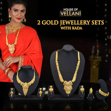 2 Gold Jewellery Sets with Kada
