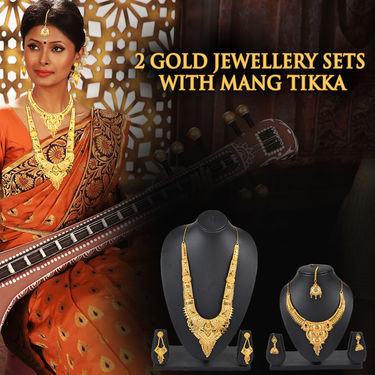 2 Gold Jewellery Sets with Maang Tikka