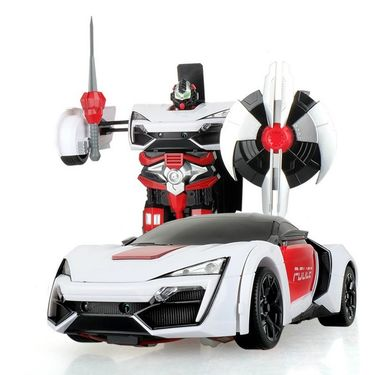 2 in1 Remote Control Robot cum Police Toy Car - White Red