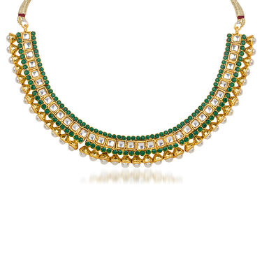 Kriaa Pearl Kundan Green Austrian Stone Gold Plated Necklace Set With Maang Tikka_2100902
