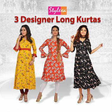 3 Designer Long Kurtas (3LD1)